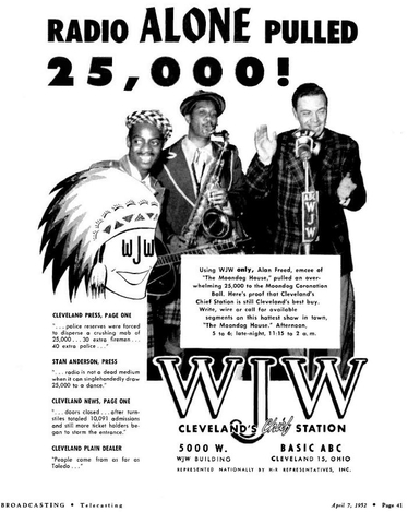 April 7, 1952, Broadcasting Magazine - Ad for WJW Radio Cleveland featuring Alan Freed. Freed is seen using a Western Electric 633 mic