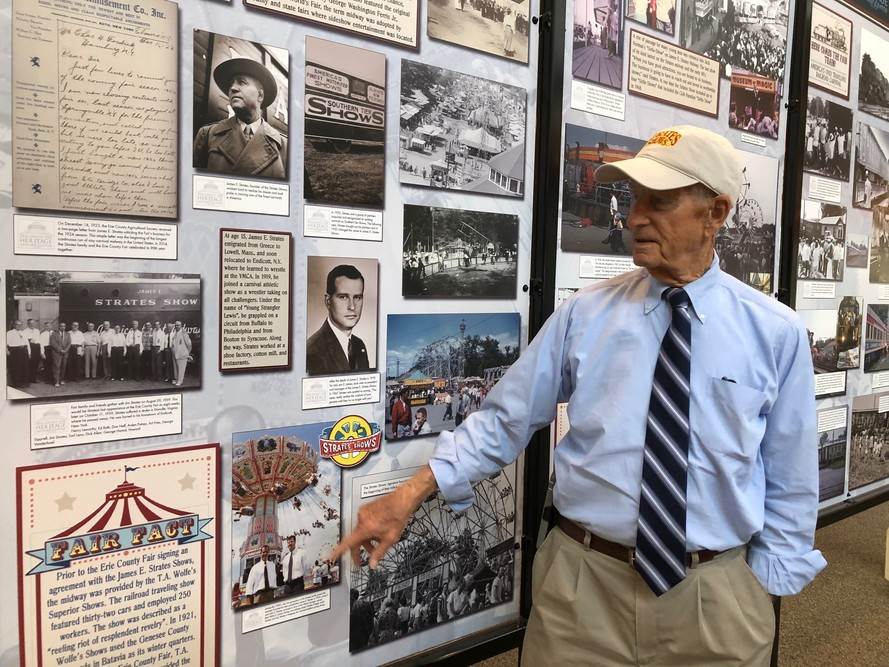 E. James Strates, Jim Strates, visits the Erie County Fair's Museum